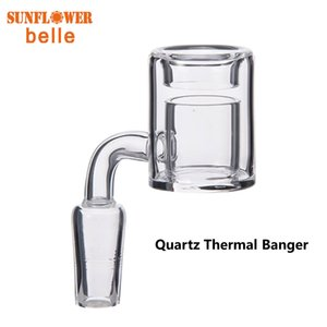 Quartz Thermal Banger Nail 10mm 14mm 19mm clear joint Male Female Double Tube 100% Quartz For Oil Rigs Glass Bongs DHL free shipping