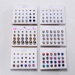 24pairs Pendientes de cristal de circón cúbico / set para el oído de la joyería mujeres de los hombres del perno prisionero de Earing partido clásico de los accesorios de regalo de Navidad