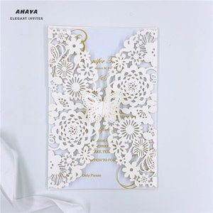 50PCS Ivory European Wedding Invitation Creative Vertical Laser Cut Butterfly Invitation Card DIY Birthday Greeting Card Thanks Cards