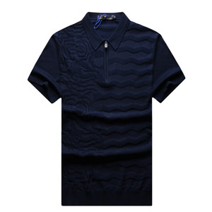 Ang*lo gala*so Polo Shirt Silk Short Sleeve Shirt men 2020 New Summer thin Business Solid color zipper elasticity big size M-5XL breathable