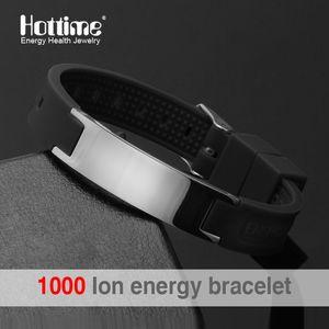 Bracelet en silicone noir (couleur) 4 en 1 Bracelet magnétique Bio Elelents Energy pour hommes Bande de poignet Bracelets d'équilibre
