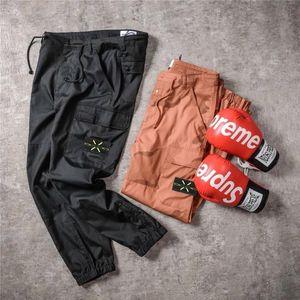 Erkek tulumları retro marka yeni pantolon erkekler açık seyahat çok cep ykk fermuar elastik dokuma rozeti tasarım mükemmel detaylar pantolon