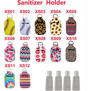 Neoprene Cover hand Sanitizer Holder Baseball Softball Neoprene For 30ML Flip Cap Size Bottle organization Holder with Keychain KKA7727