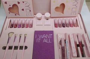 Marque Jenner Marque anniversaire de maquillage de cadeau Boîte de fard à paupières + Brillant à lèvres + brosse + ... Cosmétiques Big Box Kit I Want It All