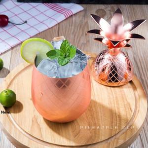 Pineapple Cocktail Cup Moscow Mule canecas copos de vidro de aço inoxidável vinho Originalidade Metal Cobre Caneca do presente Tumbler LJJA3302-2