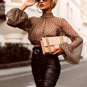 Missychilli Transparent Mesh sexy Blusenhemd Frauen Langarm dot Rollkragen Bluse Sommer weiblich lässig elegante schwarze Spitze