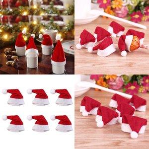 10PCs Small Christmas Hat Lollipop Candy Hat Santa Claus Hat Christmas Doll Crafts Party Supplies Festival Caps