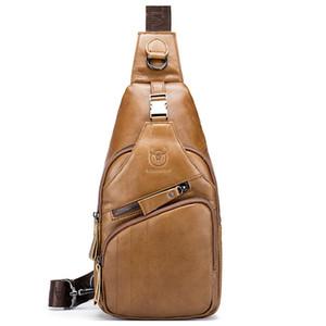 BULLCAPTAIN en cuir véritable des hommes Messenger Bag Casual épaule bandoulière Sac à bandoulière Hommes