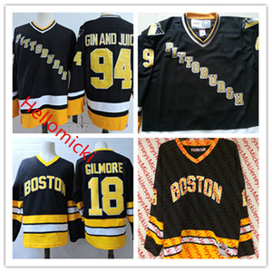 Mens Snoop Doggy Dogg # 94 Gin and Juice Pittsburgh Penguins Maglie cucita nero # 18 Happy Gilmore Bruins di Boston Film Hockey Jersey S-3XL