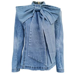 Женская Лоскутная Лук джинсовой рубашки куртка пальто воротник стойка с длинным рукавом Vintage Ruched Куртки Женский Мода Одежда