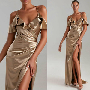 Sexy Champagne Elegant Mermaid Evening Dresses Halter Neck High Side Split Prom Gowns Sweep Train Formal Dress Ogstuff Evening Gowns