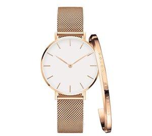 Üst Marka Lüks Kadınlar Elbise Saatler 32mm Şık Paslanmaz Çelik Hasır Pembe Altın Saatler Yüksek Kalite Lady Kuvars saatı Cuff Bilezik