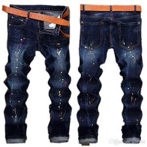 Men's Paint Distressed Ripped Skinny Jeans Fashion Designer Slim Motorcycle Moto Biker Causal Mens Denim Pants Hip Hop Jeans