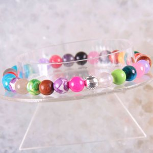 6 8 10 12MM Cord Stretch Bracelet Natural Stone Multi color Stones Round Beads Bangle for Men Women Jewelry Gift 8inches