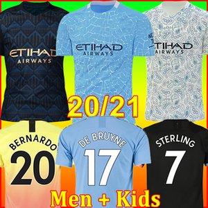 20 21 maglia da calcio Manchester City MAN 2021 2020 G. JESUS MAHREZ DE BRUYNE KUN AGUERO maglia da calcio MENDY MAN uniformi uomo + kit per bambini