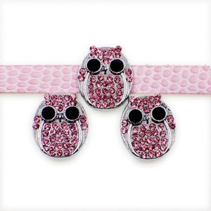 20 pçs / lote 8mm rosa strass coruja de slides DIY charme para 8mm pulseira pulseira de cintos