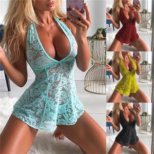 Дизайнер Нижнее белье Lace See Through дамы пижамы Passion Мода V шеи Женская одежда Нижнее белье женщин