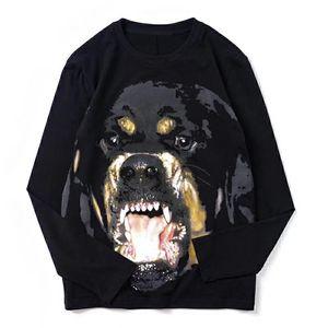 Camiseta para hombre de la manga larga de alta calidad de los hombres perro impresión de las mujeres de manga larga con capucha para hombre de Calle Tamaño de Hip Hop S-2XL