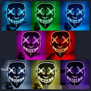 10 Colors EL Wire Ghost Mask Slit Mouth Light Up Glowing LED Mask Halloween Cosplay Glowing LED Mask Party Masks CCA10290 30pcs