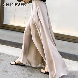 CHICEVER otoño pantalones de cintura elástica alta para mujer pantalones de pierna ancha de gasa suelta de gran tamaño pantalón de pierna ancha para mujer moda marea