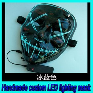 2019 hot sale handmade custom LED glow mask Halloween party ghost face adult fluorescent dance mask free shipping DHL