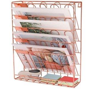 Simples Europeia Rose Gold Ferro Bookshelf desktop Livros Revista armazenamento Rack criativa armazenamento Rack pasta cremalheira