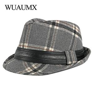 Wuaumx Unisex İngiliz Stil Üst Caz Caps Erkekler Kadınlar Ekose Fedoras Hat İçin Erkek Sonbahar Kış Retro Bowler Hat Klasik Sanatçı