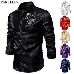 Black Sequin Patchwork Western Boy Shirts Men 2020 Fashion Slim Fit Long Sleeve Silk Dress Shirts Mens Disco Dance Prom Costume