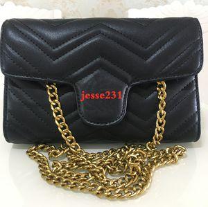 Pelle delle donne dell'unità di elaborazione di alta qualità di modo della catena Piccolo oro corpo della traversa del sacchetto di colore puro borsa a tracolla Messenger Bags 21 centimetri * 5cm * 14cm