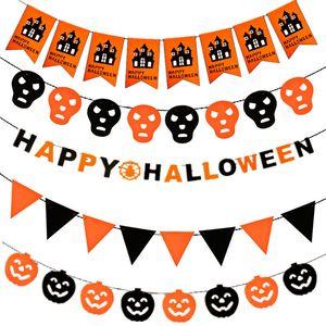 10pcs / set Kürbis Pull-Flagge Halloween-Dekorationen Witch Bat Hohl Flagge 19 Art Party Supplies Bar Startseite Arrangement Halloween Flags 5169