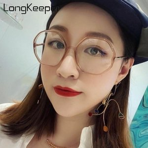 LongKeeper Fashion Anti Blue Light Glasses Women Vintage Polygon Big Eyeglasses Frame Ladies Computer Spectacles Oculos De Grau