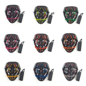Halloween Levou Máscara Máscara Do Partido Do Traje Cosplay Fio EL Máscaras Máscara de Carnaval Masquerade Aniversário Glowing 10 Cores HH7-1718