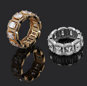 Hommes Iced Out 360 Éternité Rectangle CZ Pierre Bling Anneaux Micro Pave Cubique Zircone Diamants Simulés Hip Hop Anneau