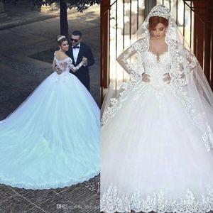 2019 Modern Arabic A Line Wedding Dresses Said Mhamad Off Shoulder Long Sleeve Lace Appliques Beads Long Chapel Train Plus Size Bridal Gowns