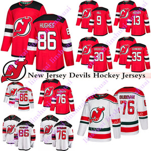 New Jersey Devils maillots 86 Jack Hughes 76 PK Subban 9 Taylor Hall 13 Nico Hischier 30 Martin Brodeur Cory Schneider chandail de hockey