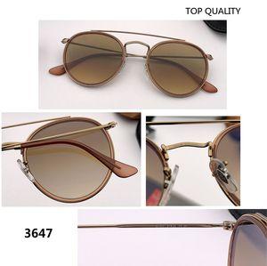 novo 2020 SteamPunk Rodada Vintage do estilo do metal dupla ponte óculos de sol espelho uv400 vidro da lente de flash Sun Óculos Óculos de Sol 3647 gafas