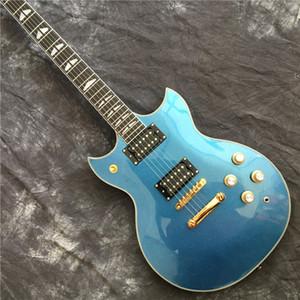 Chegada Nova Metrial Revestimento azul SG personalizado elétrica Guitarras chinês OEM Push / Pull Pot guitarra frete grátis