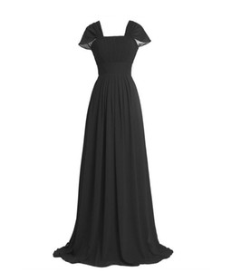 Chic Square Neck Black Bridesmaid Dresses Short Capped Sleeve Cheap Bridesmaid Dresses A Line Chiffon Maid of Honor Dresses with Sweep Train