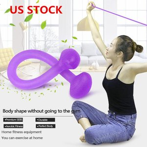 US Stock Flat Rally Stretch Rope Multifunctional Non-slip Handle Rally Device High Elastic Yoga Fitness Training Resistance Band FY7047