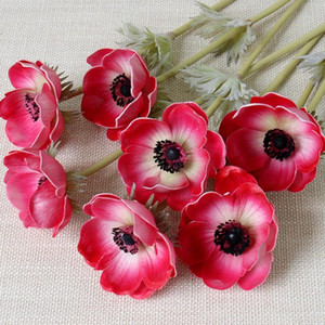 Spot Supply 9 Colors Real Touch Anemone Flower PU Artificial Anemone Bouquet Table Centerpiece Natural PU Display Flower Christmas Ornaments