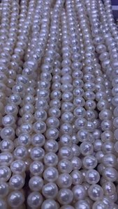pearls strands wedding 9mm potato round white natural pearl loose beaded strands for making jewlery