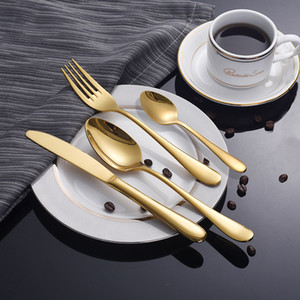High Quality Gold Tableware Set Stainless Steel Cutlery Set 4 Gold Fork Spoon Cutlery Gold Silver Knife Dinner Package European Style GT88