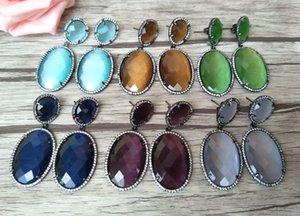 Orecchini ovali a forma di ovale di moda, orecchini di pietra zircone di cristallo zirconi, micro pavimenta gioielli pendenti per le donne ER185