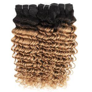 3 Bundles vague profonde T1B27 miel Blond Ombre Cheveux colorés Brésilien Cheveux frisés péruviens humain indien Tissages cheveux