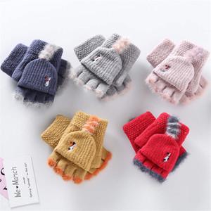 خمسة أصابع قفازات الطفل البرد الأطفال الشتاء متماسكة الوجه نصف الإصبع قفازات الأطفال الطفل دافئة 4-12Y