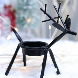 Hot Accueil fête Bougeoirs Noël art créatif fer européen cerf Chandeliers Décorations de Noël et cadeaux