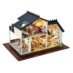 1 24 DIY Miniature Provence Villa Dollhouse Kits with Furniture Model, for Ages 6+