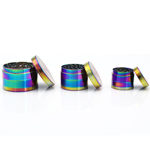 40 50 63mm Fashion Rainbow Grinder Zinc Alloy Metal 4 Layers Grinders Herb Tobacco Grinders Spice Crusher Smoking Accessories VT0296