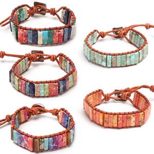 1PC Natural Stone Bohemian Tube  Bracelet Multi Color Leather Handmade Wrap Pulseras Yoga Pray Creative Gifts Accessories
