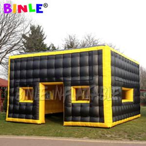 Yeni tasarım siyah ve satışı pencereli şişme parti küp çadır olay barınak yerçekimi küp evin açık sarı airbox